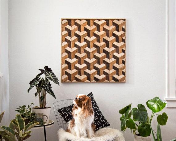 Reclaimed Wood Wall Art | Wood Wall Art | Tessellation | Wood Wall Decor | Wood Design | Wood Decor | Lath Art | Pattern Art | Geometric Art