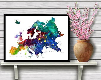 The Map of Europe, Colorful Watercolor Poster, Wall Art, Travel, Geographical Home Decoration, Wall Hanging Room Decoration,gift, Print (03)
