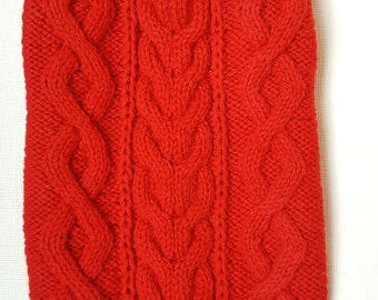 Red Cable Knit Dog Sweater-Knitted Dog Sweater-Dog Coat-Christmas Dog Costume-Dog Clothes Size L