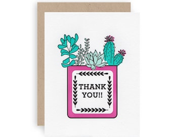 TY Succulents - Letterpress Greeting Card