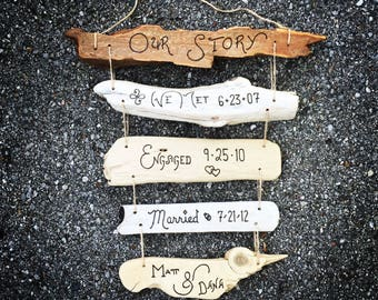 Our Love Story Sign Timeline Dates- Custom First 1st First Anniversary Gift for Couple Wife Husband, Wedding Engagement, Anniversary Present