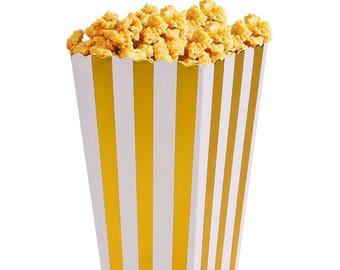 6/ Striped Foil Gold Party Mini Popcorn Boxes/ favor boxes / treat boxes