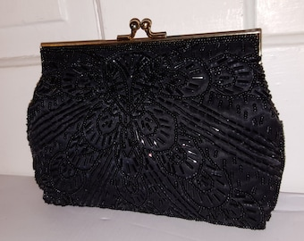 BLACK BEADED PURSE // Imperial Fashions Wedding Gold Formal Evening Bag Beaded Metal Chain 80's Party Funeral Clutch