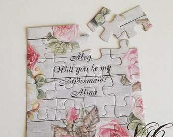 Rustic Personalized Bridesmaid proposal, Rustic Flower girl proposal, Will You Be My Flower girl puzzle, Ask Bridesmaid, Ask Flower girl