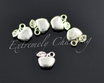 100pcs - Small Apple Charm - Antique Silver - A226