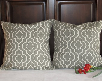 Quatrefoil pillow covers, Taupe Gray 16 x 16 pillow covers, Gray Quatrefoil Pillow Covers, 16 x 16 Pillow Covers, Gray and Cream Pillow