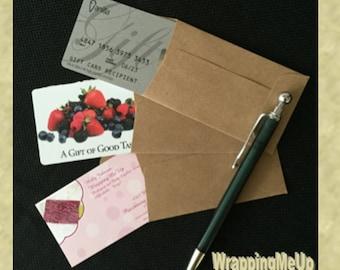 "50 -2.25""x3.75"" Mini  Kraft Envelopes, Business Card Envelopes, Money Card Envelopes, Gift Card Envelopes, Cash Giving Envelopes"
