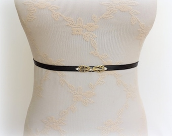 Black waist belt. Elastic belt. Thin belt. Skinny belt. Swarovski crystals belt. Dress belt.