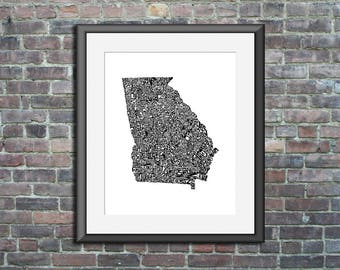 Georgia typography map art unframed print customizable state poster wedding engagement graduation gift anniversary personalized wall decor
