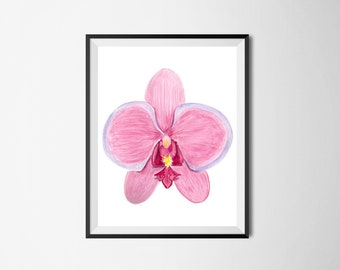 Printable watercolor orchid,pink orchid,watercolor orchid flower art print,pink orchid print,floral room decor,botanical wall art,floral art