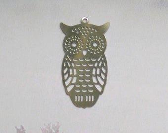 PRINTS 4 PENDANTS OWL filigree stainless steel
