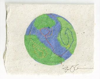 Earth Card Handmade Paper with stitching
