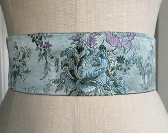 Asian Brocade silk obi sash, pale Blue print obi belt, silk organza obi belt sash, waist cincher, engagement party sash
