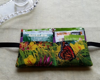 Gorgeous butterfly/hummingbird tea wallet with 6 pockets