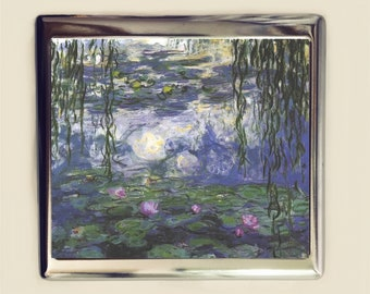 Monet Water Lilies Cigarette Case Business Card ID Holder Wallet Fine Art Famous Painting Impressionist Claude