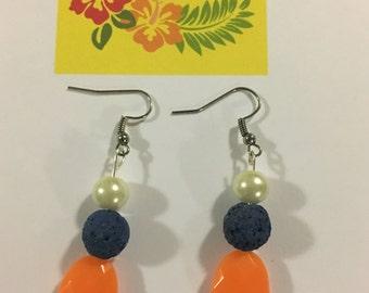 Blue and Orange Essential Oil Earrings