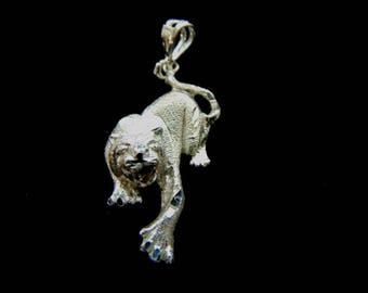 Vintage Estate .925 Sterling Silver Tiger Pendant 6.2g #E3044