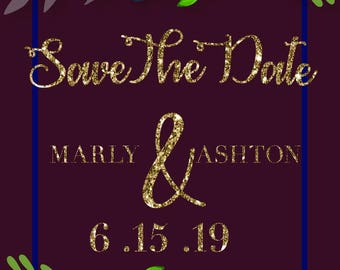 Save the date burgundy color