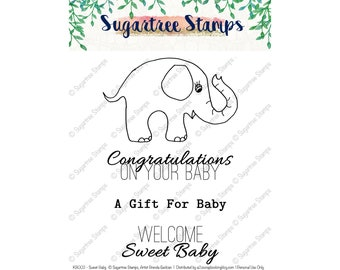 Sweet Baby Sugartree Stamps INSTANT DOWNLOAD KB002 | Baby Elephant Digtal Stamp, Congrats on your Baby, Baby Gift, Baby Clip Art, Line Art