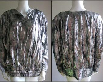 70s 80s vintage silver  iridiscent  lurex disco  glam top