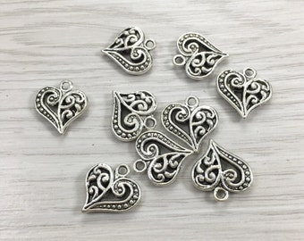 30pcs Double Sided Heart Charms -Heart Pendants- Antique Silver