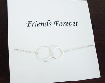 Double Half Flat Circle Infinity Silver Bracelet ~Personalized Jewelry Card for Friend, Best Friend, Sister in Law, Bridal Party, Graduation
