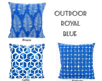 OUTDOOR Blue Throw Pillow Covers Decorative Cushions Royal Blue White Palm Leaf Patio Pillows Deck Boat One or More Mix & Match ALL SIZES