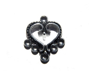 6 Silver Heart Chandelier Earring Connectors - 1 to 5