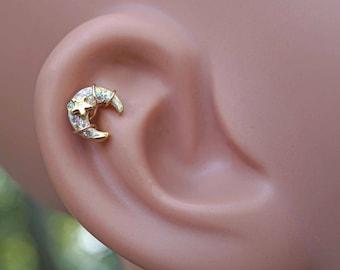 Gold Moon Stud Cartilage Earring Piercing 16g