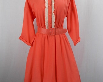 Coral Color Shirt Dress Swing Style Skirt