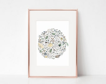 Circle of flowers x3 - Watercolor Printable- INSTANT DOWNLOAD - Art Print Instant Download-PDF- 8x10- 4x6- 5x7- Illustration for print