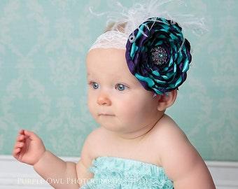Baby headband, infant headband, purple and turquoise headband, photo prop, ott headband, satin flower, pagent headband, feather headband