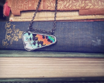 Real Moth Wing Pendant - Sunset Moth, Handmade Jewelry, Mother Nature, Boho, colourful, Wings, colourful, for her, gift, simple, raw, nature