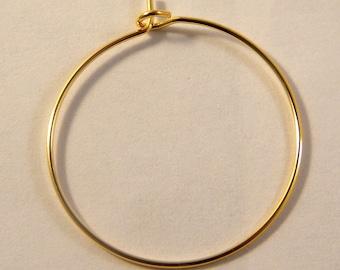 4 brackets rings / hoop earrings gold plated 25 mm
