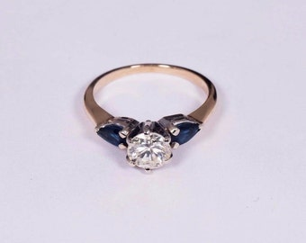 14K Yellow Gold Sapphire and Diamond Ring, size 5.75