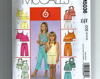 McCall's Girls' Tops, Shorts and Capri Pants Pattern 5036