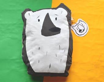 Handmade Polar Bear Cushion Charcoal