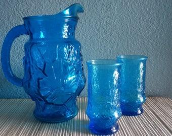 Cobalt blue vintage picture and glass set