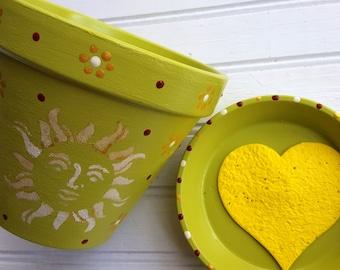 Rustic Sun Face - Painted Flower Pot - Boho Decor - Green Planter - Gift for Gardener