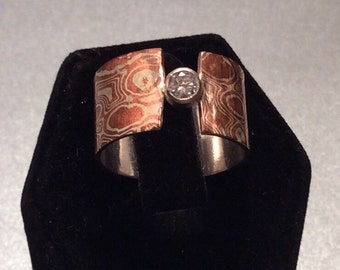 Mokume  Gane wide band ring with diamond CZ