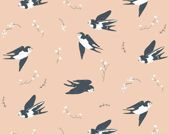 Happy Swallow - Little Collection - Birch Fabrics - Organic Cotton - Poplin by the Yard