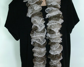Hand Knit Scarf - Neckwear - Curly -  Warm - Dressy - Sashay - SS-131