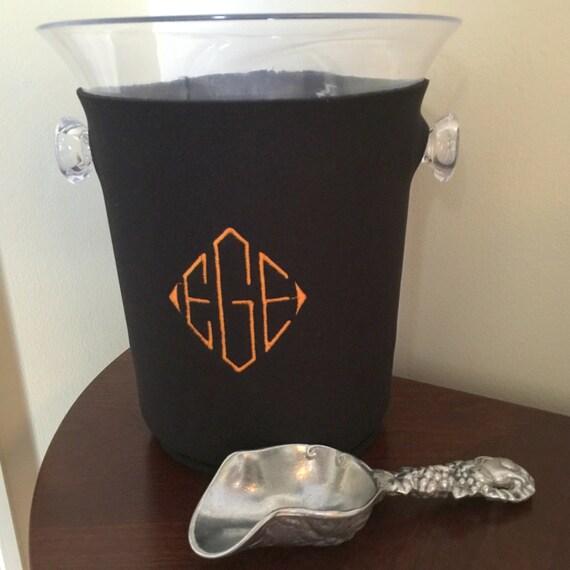 Monogrammed Ice Bucket With Sleeve Personalized Ice Bucket