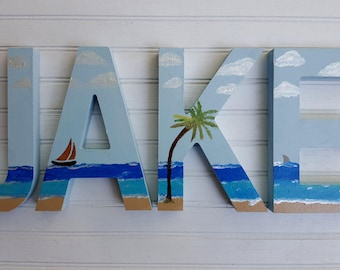 Beach Decor - Beach Theme - Painted Wall Letters - Childrens Room - Nursery Letters - Beach Letters