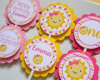 You Are My Sunshine Cupcake Toppers, Sunshine Party Decorations, Sunshine Party Supplies, Sunshine Birthday Party, Sunshine Party, Set of 12