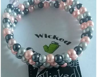 silver and pink 6mm glass pearl bead wire wrapped bracelet