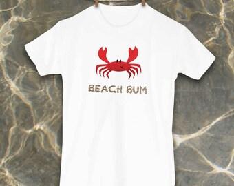 Crab shirt, Cute Toddler Tshirt, Personalized, Kids Clothes, Beach kids, Beach bum, Nautical Clothes, Toddler, Crab, Fish