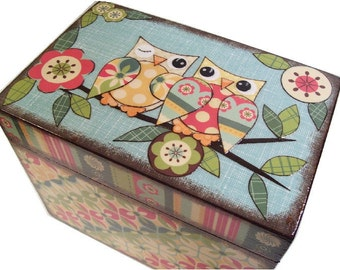 Recipe Box, Personalized, Couples Gift, Bridal Shower, Bridal Gift, Decorative Box, Owl and Other Designs, Holds 4x6 Cards, MADE TO ORDER