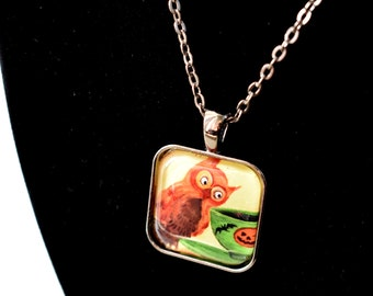 Handmade glass tile art pendant necklace with chain, Halloween owl tea with pumpkin, bat, gothic whimsical