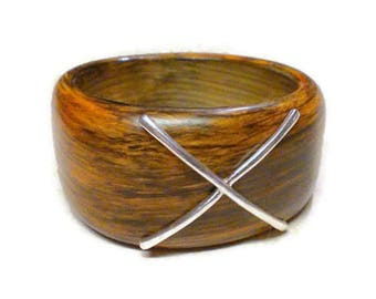 Wide MOD Faux Wood Hard Plastic Bangle Bracelet